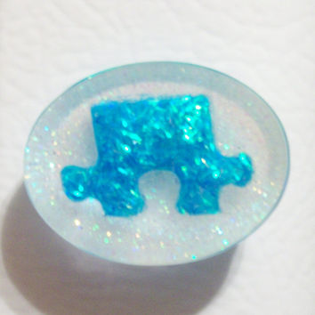 Autism Awareness Blue Glitter Puzzle Piece Resin Magnet