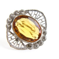 Antique Art Deco Yellow Stone Filigree Brooch - Oval Faceted Great Gatsby Silver Tone Jewelry Pin / Sunny Amber Yellow