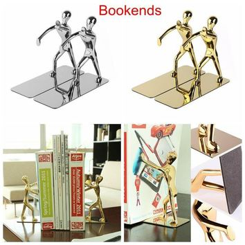 2pcs Stainless Steel Nonskid Bookends,Office Library Decoration Kung Fu Man Bookends,Silver