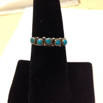 Old Pawn Turquoise Ring Band Navajo Sterling Silver Size 8 Blue Stone 925 Vintage Native American Southwestern Tribal Jewelry Petit Point