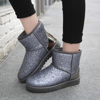 Women Snow Boots  Cute Style Casual Ankle Boots Winter Warm Shoes Women Suede Girls Snow Boots buty damskie tenis UPD278