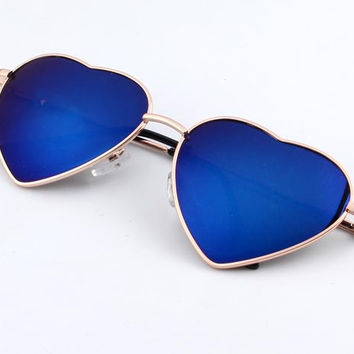 Heart Shaped Sunglasses For Women metal Reflective LENS (Multi Colors avail)