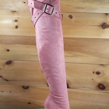 "Astra OTK High Heel Thigh Boots 4.5"" Stiletto Belt Strap Design Blush"