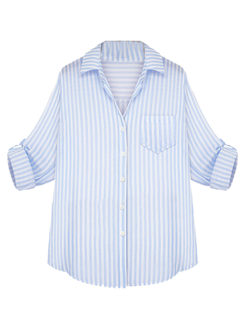 classic blue and white stripe button up from midnight bandit