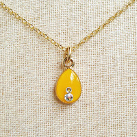 Tiny Teardrop Necklace, Orange Teardrop Necklace, Honey Gold Resin Teardrop, Rhinsones Necklace, Small Necklace, Dainty Teardrop Necklace