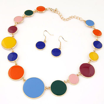 Jewelry Sets Enamel Circular Statement Necklace Earring Sets For Women Vintage Party Women Costume Jewelry Set collier femme