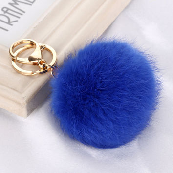 CRM060 Hot selling New 8CM Length Rabbit Fur Ball Cell Phone Car Keychain Pendant Handbag Charm Key Chain PomPom Charm Keyring
