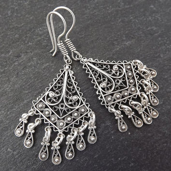 Diamond Fan Shaped Telkari Dangly Silver Ethnic Boho Earrings - Authentic Turkish Style
