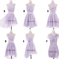 purple bridesmaid dress, light purple bridesmaid dress, cheap bridesmaid dress, short bridesmaid dress, short prom dress, RE237
