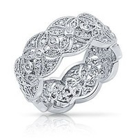 Bling Jewelry Sterling Silver CZ Vintage Style Leaf Band Ring
