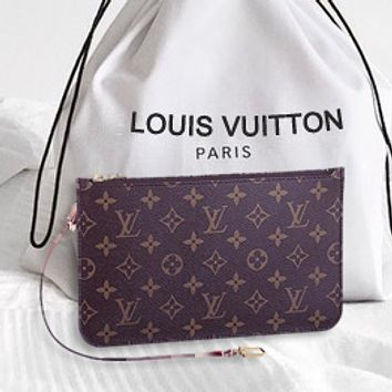 LV Fashion Women Louis Vuitton Coin purse Wrist Bag Cute Wallet Morogram B