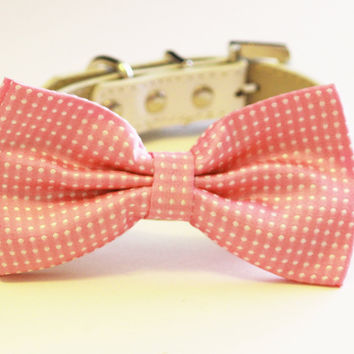 Pink Polka dots dog Bow tie, Pink Pink Dog Bow Tie with high quality white leather collar, , Cute Dog Bowtie, Wedding acceossry