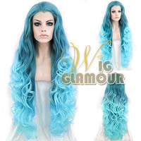 "Long Curly Wavy 30"" Turquoise Green with Peacock Blue Lace Front Synthetic Wig"