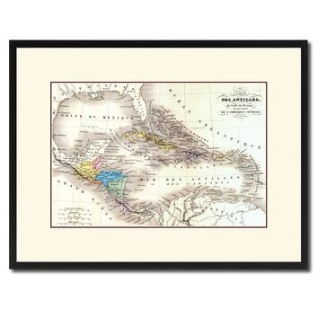 West Indies Caribbean Vintage Antique Map Wall Art Home Decor Gift Ideas Canvas Print Custom Picture Frame