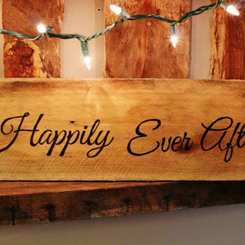 Hand Painted Wooden Plank - Wedding Edition - Happily Ever After
