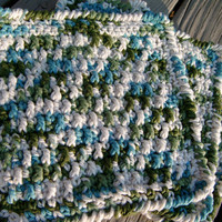 Simple Cotton Crochet Dishcloths Handmade-Set of 3- in Blue, Green, and White