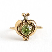 Vintage Peridot Ring - .71 CT Green Gemstone 14k Yellow Gold - Antique Size 6 1/2 Stick Pin Conversion Fine Edwardian Early 1900s Jewelry