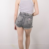 Vintage (Medium) Distressed Acid Wash Gray High Waisted Denim Shorts