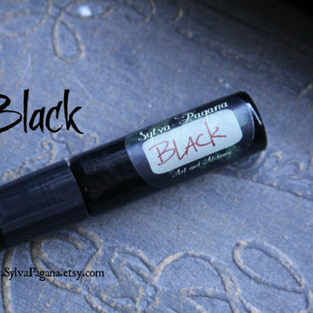 Natural cologne spray - black pepper leather musk - BLACK - Rare Alchemy Collection - travel bottle w roll on 9ml