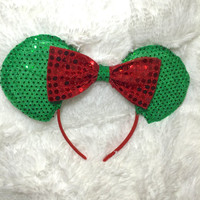 Christmas minnie ears mickey ears red and green disneyland disney world sequence