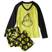 Dr. Seuss® Juniors Grinch Plush Pajama Set - Green