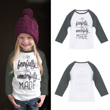 Baby Girls Letter Print T-Shirt Toddler Long Sleeve Tops Blouse Cotton Kids T-shirt Girls Clothing