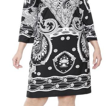 Plus Size Madelyn Print Dress Black White Short Shift V Neck