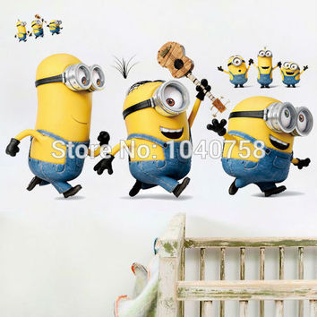 Cartoon Minions Wall Stickers for Kids Room Baby Despicable Me Wall Decal Home Decoration Wall Paper Art Stuart Mark Tim Posters