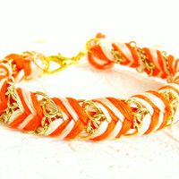Neon Tangerine Peachy Keen & Neutral  Chevron Braided by HelloZee