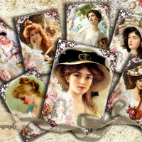 VICTORIAN BEAUTY - Printable Download Digital sheet romantic shabby greeting cards journaling paper scrapbooking