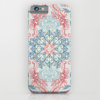 Vintage Fancy - a Pattern in Pale Blue, Navy & Deep Rose iPhone & iPod Case by Micklyn