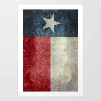Texas state flag, Vertical retro vintage version  Art Print by LonestarDesigns2020 - Flags Designs +