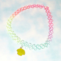 Pastel Rainbow Seashell Charm Tattoo Choker - 90's Accessories, Cute Tattoo Choker