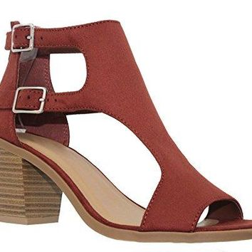 MVE Shoes Women's Open Toe Double Buckle Cutout Stacked Heel Sandal, Rust Su Size 7.5