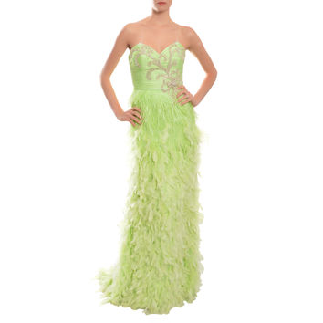 Mac Duggal Glamorous Lime Jeweled Feather Ruched Jeweled Eve Gown Dress