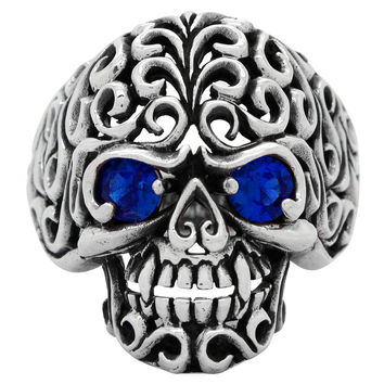 Sterling Silver Floral Filigree Skull Ring Sapphire Blue CZ Eyes