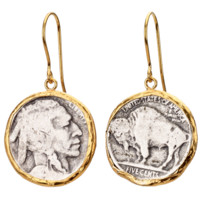 Buffalo Head Coin Earrings in Gold