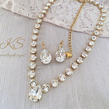 Bridal Necklace, Swarovski, Pear, Crystal Clear, Gold Setting, 18X13 Pear, DKSJewelrydesigns, FREE SHIPPING