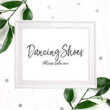 Stylish Hand Lettered Dancing Shoes Sign-Printable Calligraphy Dancing Shoes-DIY Handwritten Wedding Flip Flops Sign-Dancing Shoes Favors