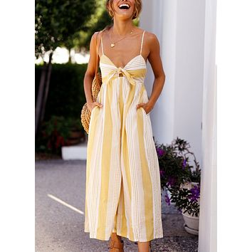 Summer new women's sling sexy striped jumpsuit