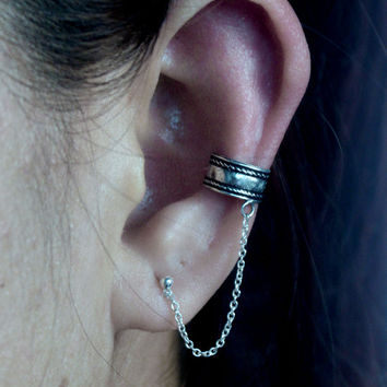 Sterling Silver Oxidized Ear Cuffs with Chain - Chained Ear Cuffs - Cartilage Ear Cuffs with Chain - Boho Ear Cuff - Bohemian Jewelry - Gift