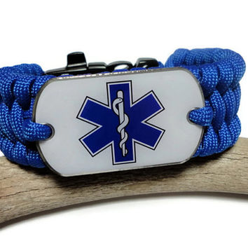 EMS Paramedic Paracord Survival Bracelet with Dog Tag Ladder Rack or Trilobite Weave Blue Military Grade Handmade USA
