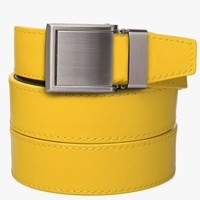Yellow Leather Belt with Square Buckle
