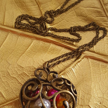 Vintage necklace Antique bronze beaded heart shape charm Long necklace Statement jewelry