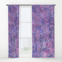 Purple and faux silver swirls doodles Window Curtains by savousepate