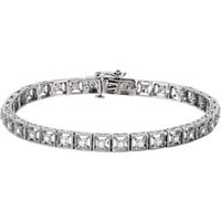 "14K White 1-2 CTW Diamond Fashion Tennis 7"" Bracelet"