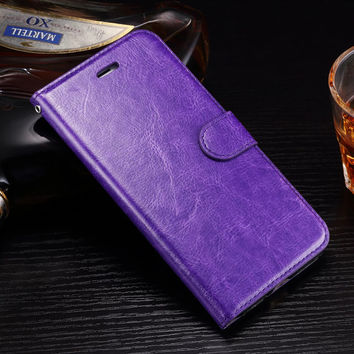 Smooth Painting Edge Leather Cell Phone Cover For Apple iPhone 7 Plus Case Flip Wallet Book Mobile Phone Bag With Stand Fundas