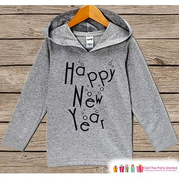 Kid's New Years Shirts - Happy New Year - Boy or Girl Happy New Years Eve Outfit - Baby, Toddler New Year's Eve Hoodie - Champagne Bubbles