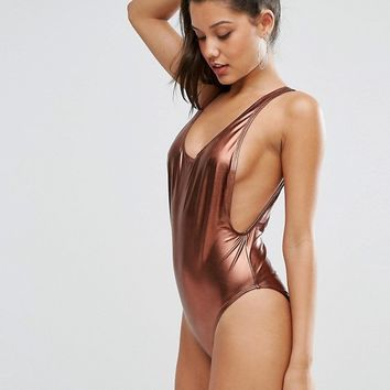 Missguided Metallic Low Side Swimsuit at asos.com