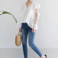 Crinkled Button-Front V-Neck Blouse